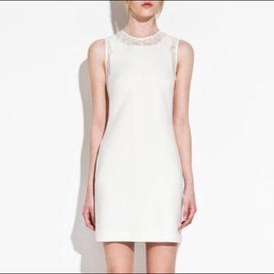 Zara Off White Sleeveless Lace Dress